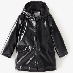 Zara girls black rubberized padded raincoat
